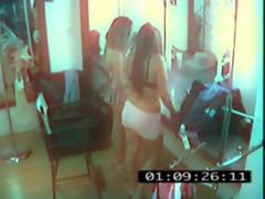 Security Cams 2 girl in a barbershop