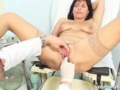 Mature Livie examined by a horny gyno doctor