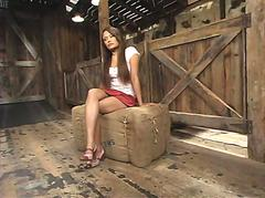 Bamboos girl friend AC gets hog tied, dildoed and shocked