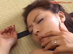 Busty Milf Sucking Young Guy Cock Hairy Pussy Fucked Creampie On The Mattress In The Room