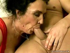 Ugly granny sucking and riding young cock