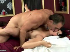 Horny old dude fucking a nasty young slut
