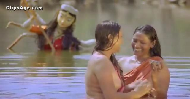Indian Village Ladies Bathing Nude In Pond From Movie -2378