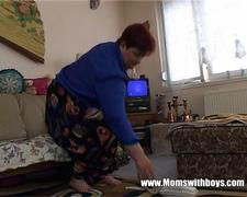 Horny Mature Lady Seduces The TV repair-Man