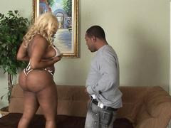 Obese black chick deeptroating a dick before getting banged in her bald black pussy