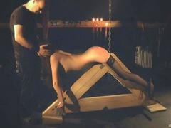 Tied up and hars ass slapped before a deep blowjob in bdsm