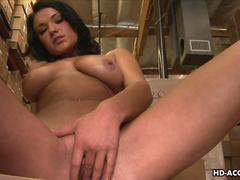 Brunette sex Goddess toys her smooth shaven cunt