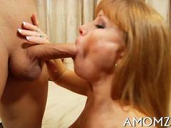 Milf with freckles and big tits fucks a young stud