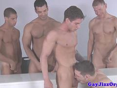 Straight hunk facialized after sucking