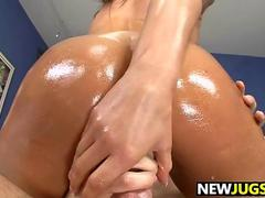 madelyn marie oiled up for a slippery cock ride on the couch