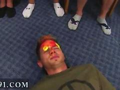 Hot college girls watch guys go gay during a dorm room hazing party