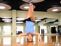 Hot blonde yoga teen gets naked for a hot exercise