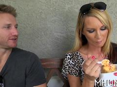 Hot blonde MILF eats ice cream and fucks Levi Cash
