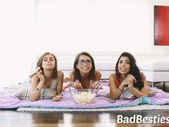 Horny Girls Fucked While Watching Movie
