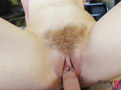 Pale blonde chick gets her trimmed pussy stuffed in cowgirl position