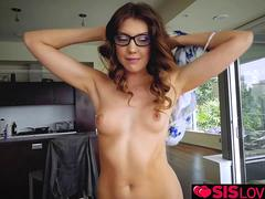 Horny step brother seduces his sister and bangs her
