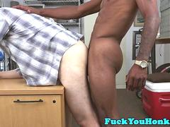 Casting straight drools on black agents cock