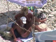 Mature nudist couple quick beach sex
