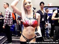 Two sluts showing of their deepthroat skills at comic con