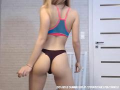 Latina with braces and cute underwear dancing