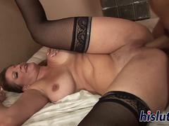 Amazing MILF in stockings gets screwed hard