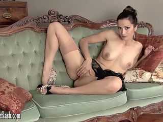 Hot babe masturbates in leopard print heels and vintage nylons with sheer garters