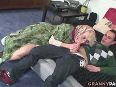 This granny is tempted to taste that young big fat shaft
