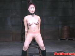Redhead asian sub with mouth gag dominated