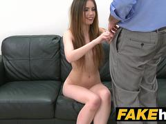Fake Agent Skinny model makes hard sex an art form on the couch