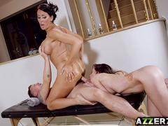 MILF masseuse Reagan Foxx 3some with hot couple