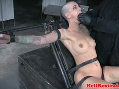 Pierced bdsm sub caned by maledom while bound