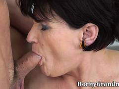 Older woman rides cock