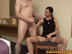 Uk CFNM babe wanking cock after pussyplay