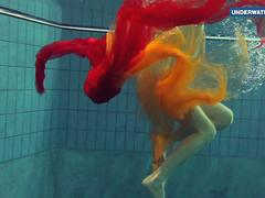 Yellow and Red clothed teen underwater