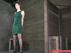 Clit pierced redhead sub flogged and toyed