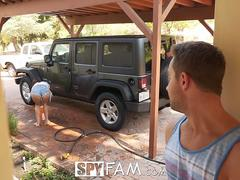SpyFam Car wash flirtation turns into fuck with step sister Ashly Anderson