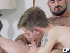 Hairy hunk owning young burglars ass with his mighty cock