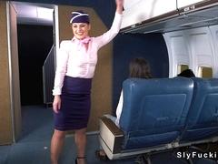 Stewardess rough fucked in airplane