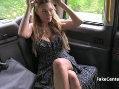Horny taxi driver fuck model on backseat