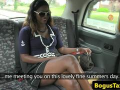 Busty ebony babe doggystyled by taxi driver
