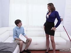 Mom is the best teacher and finds boss duddys sons condoms She sits on his face before