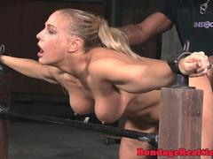 Bound BDSM slut doggystyled by black maledom