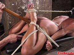 submissive babe tiedup and dildoed in pussy segment