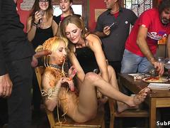 Dirty of food babe fucked in public bar