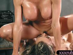 Big boobs milf masseuse gives Thai massage and make out