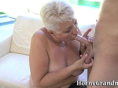 Busty pensioner creamed