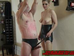 Rough brutal spanking session with old grandpa and blond german mature femdom lady