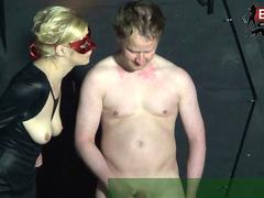 First time fetish handjob session from german amateur slave and tight blond femdom