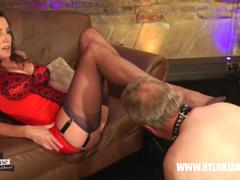 Milf Nylon Jane teases guy with her nylon covered feet rubbing all over his face and cock