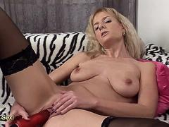 Natura busty Adeline Barb gets off with giant red vibrator